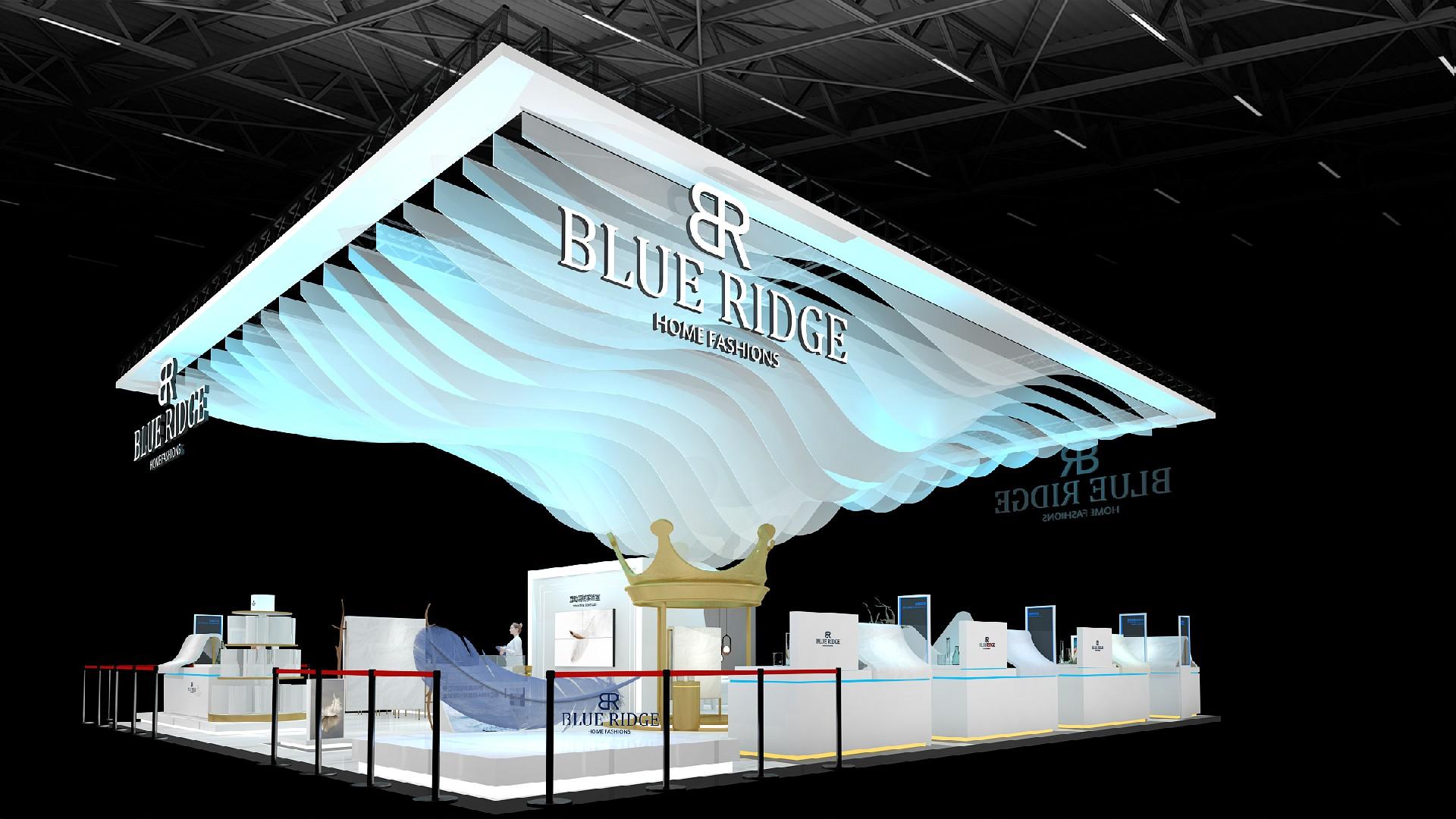 蓝岭家纺-第三届进博会展台设计搭建案例